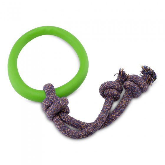 Beco Pets natural rubber hoop on rope dog toy on a white background.