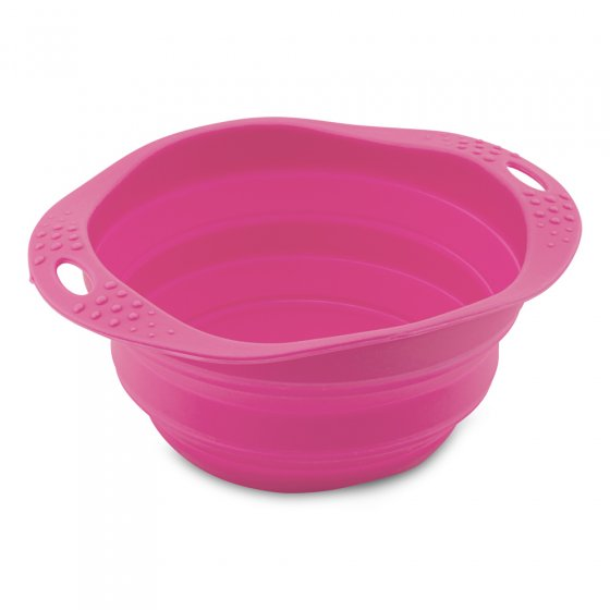 Beco Pets pink sustainable rubber pet travel bowl on a white background.