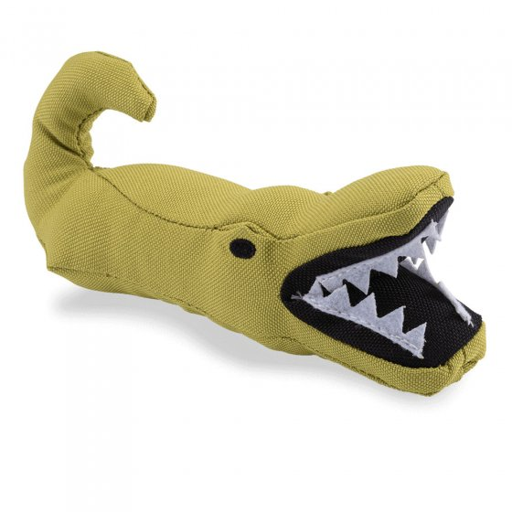 Beco Pets recycled plastic cuddly alligator pet toy on a white background.