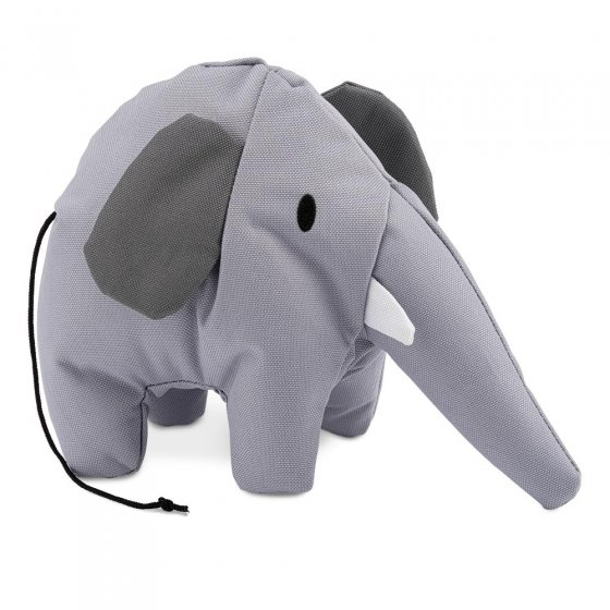 Beco Pets recycled plastic cuddly elephant pet toy on a white background.