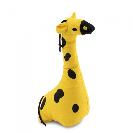 Beco Pets recycled plastic cuddly giraffe pet toy on a white background.