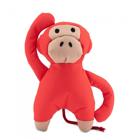 Beco Pets recycled plastic cuddly monkey pet toy on a white background.