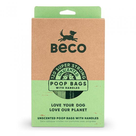 Beco Pets sustainable recycled plastic dog waste bags with handles on a white background