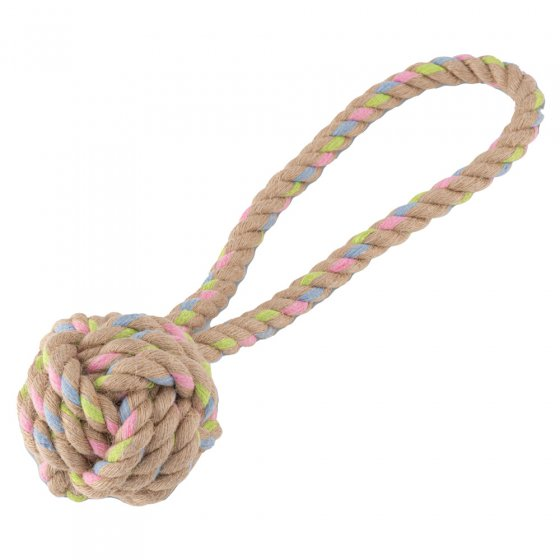 Beco Pets sustainable hemp ball with handle dog toy on a white background.