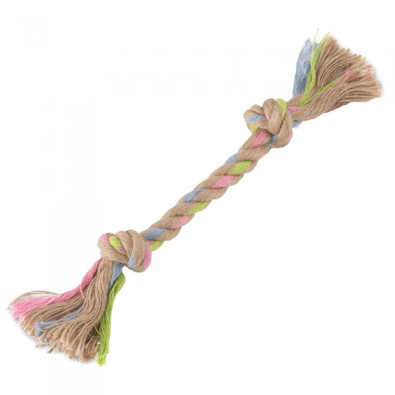 Beco Pets sustainable double knot hemp rope dog toy on a white background.