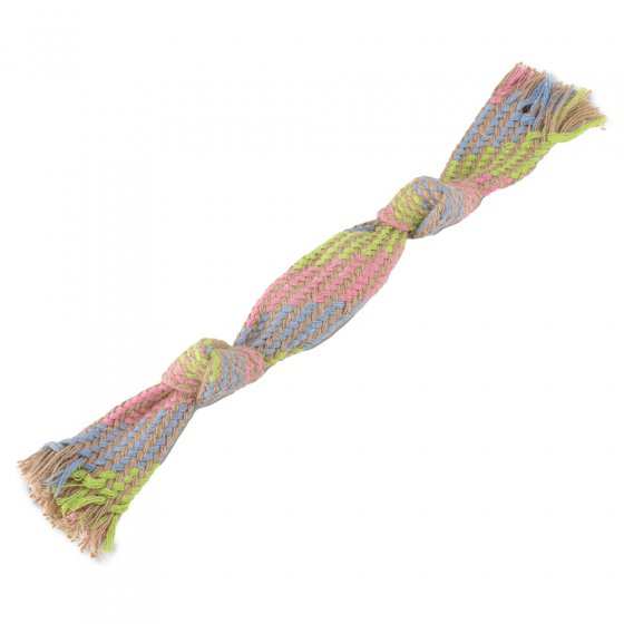Beco Pets sustainable squeaky hemp rope dog toy on a white background.