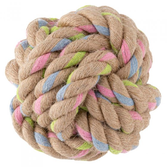 Beco Pets sustainable hemp rope dog ball toy on a white background.