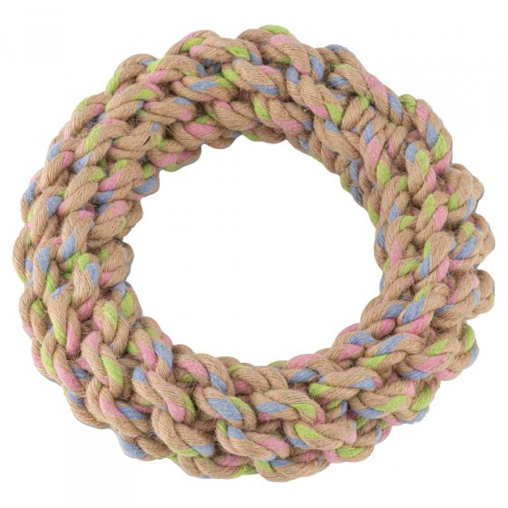 Beco Pets sustainable sourced hemp rope Jungle Ring dog toy on a white background.