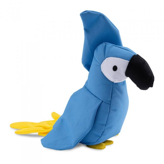 Beco Pets recycled plastic cuddly parrot pet toy on a white background.