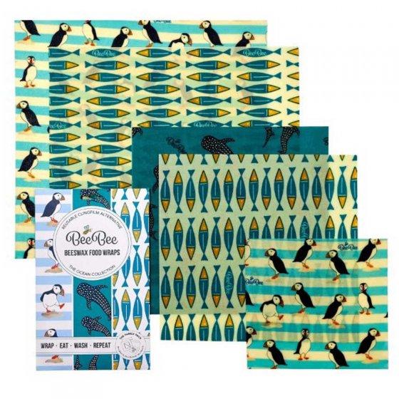 BeeBee Family Pack Beeswax Wraps - Ocean