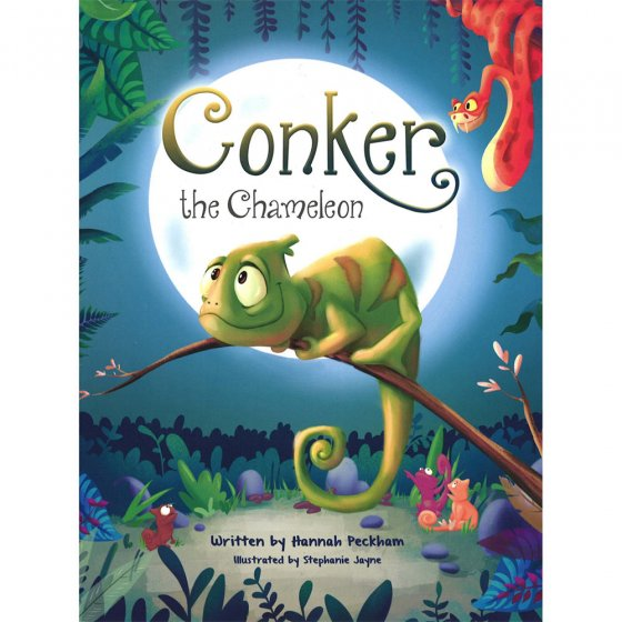 Cover of the Central Books Conker the Chameleon children's story on a white background