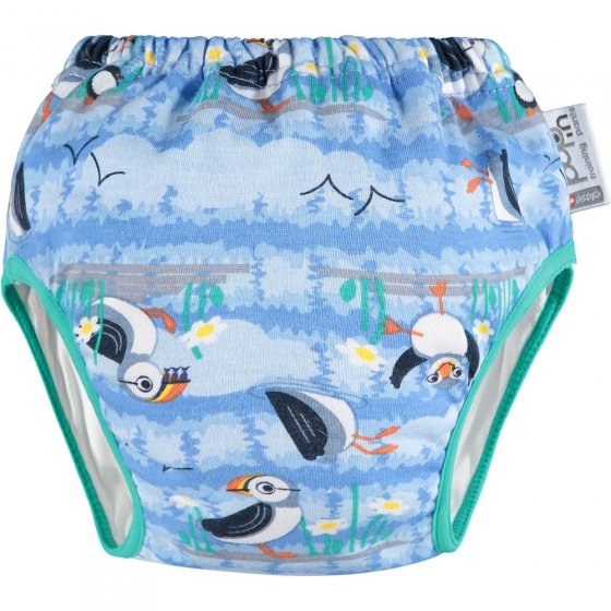 Close Parent Pop-in Day-Time Training Pants in the blue puffin design on a white background.