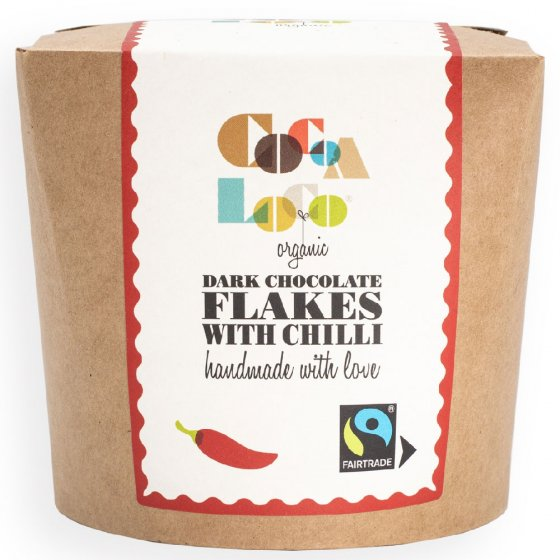 Cocoa Loco Dark Chocolate & Chilli Drinking Flakes 200g