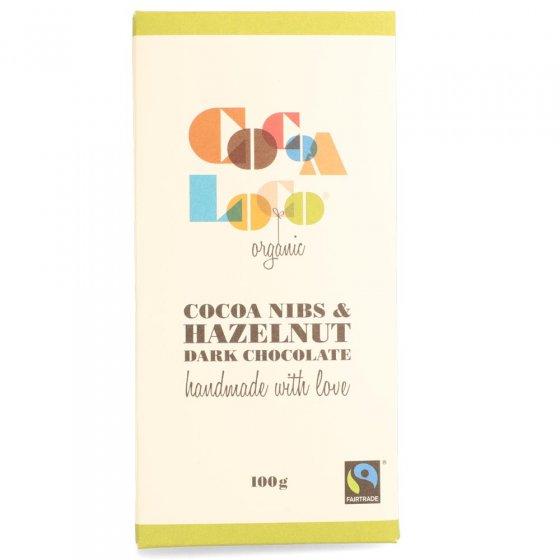 Cocoa Loco Dark Chocolate Cocoa Nibs & Hazelnut Bar 100g