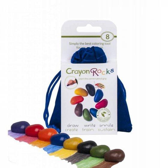 Crayon Rocks Bag of 8 in Blue Velvet Bag / cotton muslin Bag