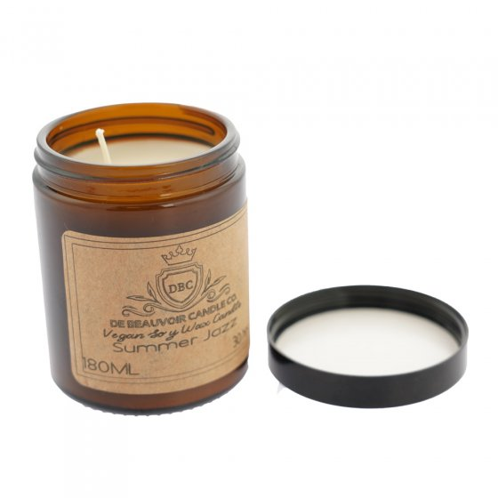 De Beauvoir Summer Jazz scented vegan candle on a white background