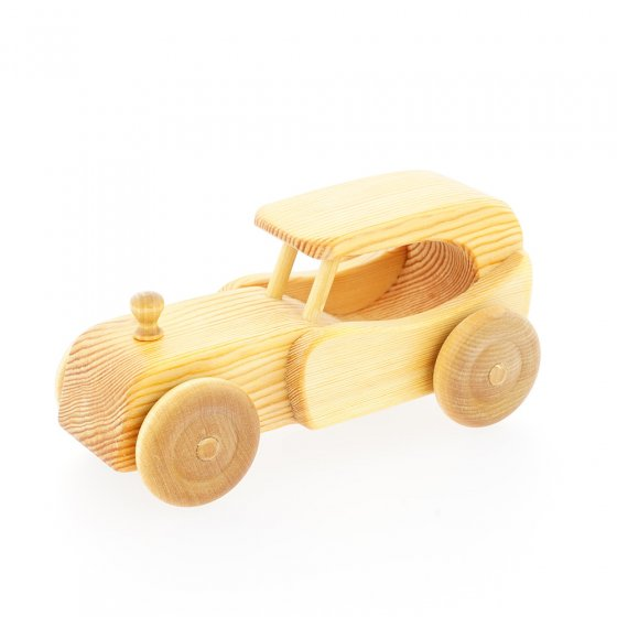 Debresk sustainably sourced wooden oldtimer classic car toy on a white background