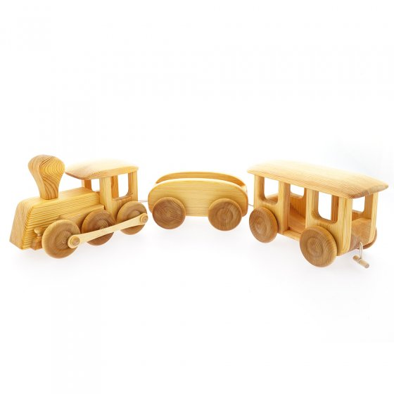 Debresk eco-friendly birch wood large train toy on a white background