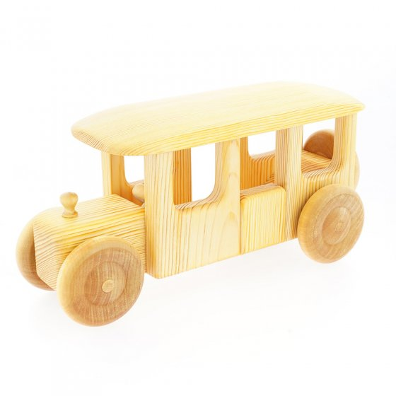 Debresk sustainably sourced birch wood bus toy on a white background