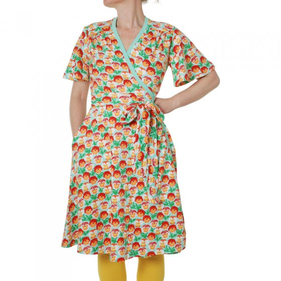 Duns Adult Beach Glass Pansy Flutter Sleeve Wrap Dress