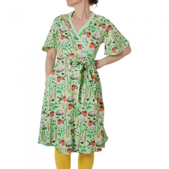 Duns Adult Nile Green Robin Flutter Sleeve Wrap Dress