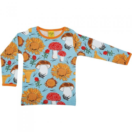 DUNS Sunflowers and Mushrooms Sky Blue LS Top