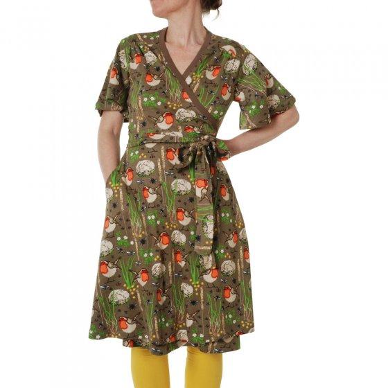 Duns Adult Timber Wolf Robin Flutter Sleeve Wrap Dress