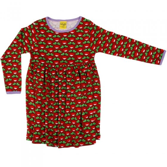 DUNS Adult Dark Red Radish LS Gathered Dress