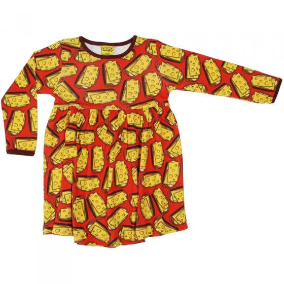 DUNS Mandarin Red Cheese Sandwich LS Gathered Dress