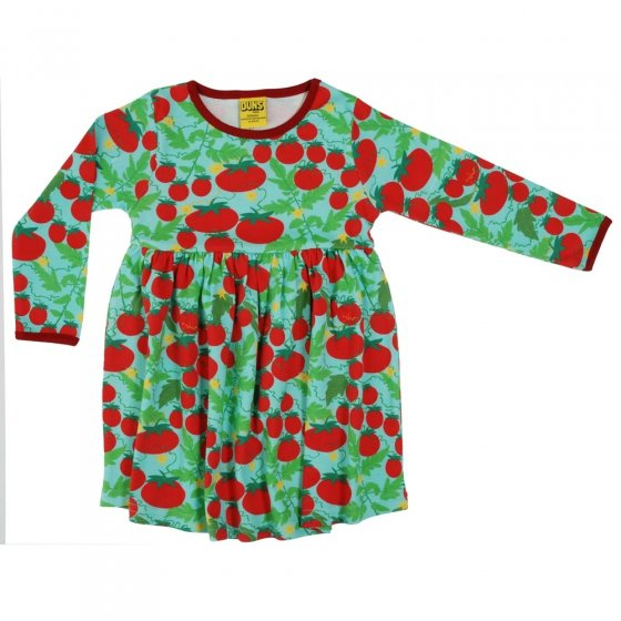 DUNS Turquoise Growing Tomatoes LS Gathered Dress