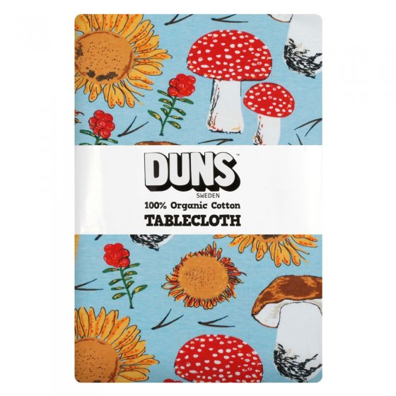Duns Sunflowers and Mushrooms Sky Blue Table Cloth