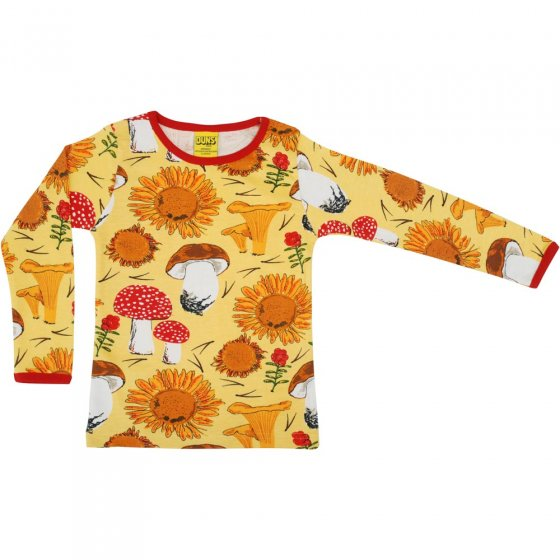 Duns Sunflowers and Mushrooms Sunshine Yellow LS Top
