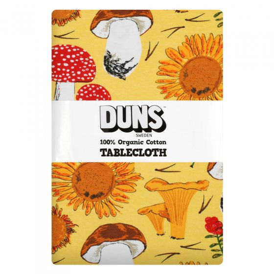 Duns Sunflowers and Mushrooms Sunshine Yellow Table Cloth