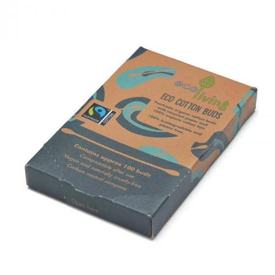 Ecoliving Organic Fairtrade Cotton Buds - 100 pack