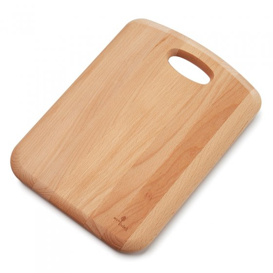 Ecoliving 34cm sustainable Beech Wood food chopping board on a white background