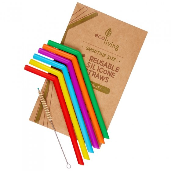 Ecoliving Extra Wide Silicone Straws And Brush - 6 Pack