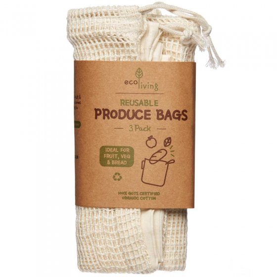 Ecoliving Organic Produce & Bread Bag 3 Pack