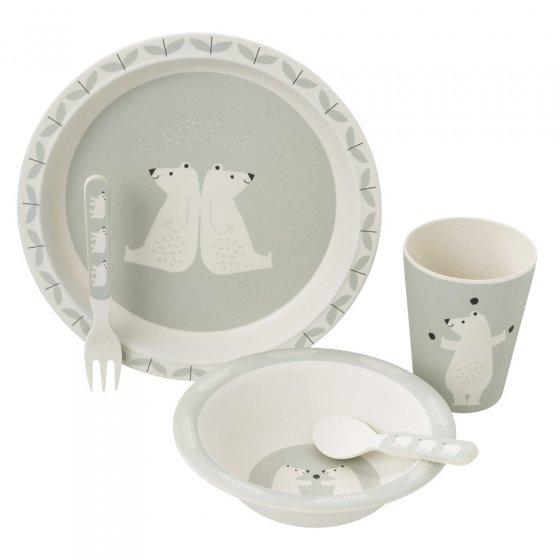 Fresk Polar Bear Bamboo Dinner Set