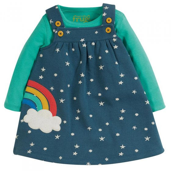 Frugi childrens eco-friendly pippa pinafore in the abisko stars and rainbow colour on a white background