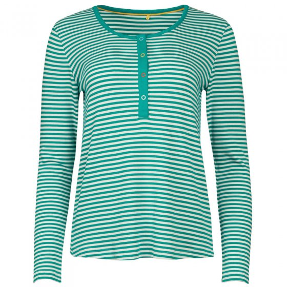 Frugi Adult Jewel Fine stripe Henley Nursing Pyjamas Top