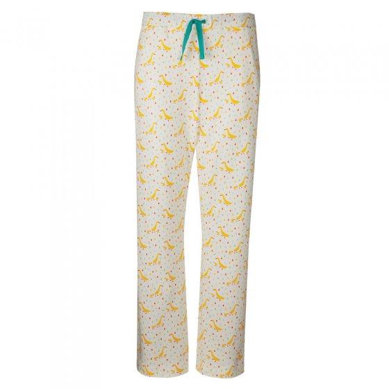 Frugi Adult Soft White Runner Ducks Pansy Pyjama Bottoms