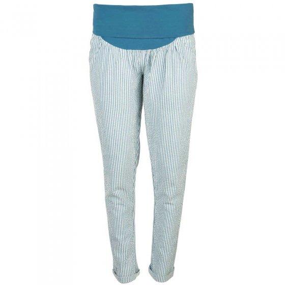 Frugi Adult Steely Blue Seersucker Stripe Calia Trousers