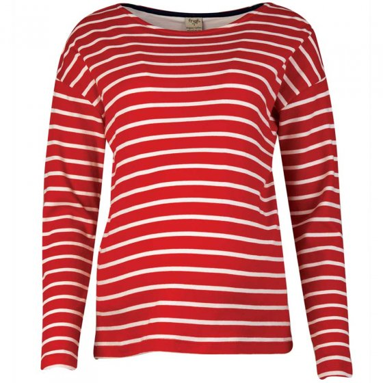 Frugi Adult Tango Red Breton Tricia Top