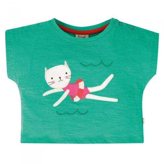 Frugi Aqua Cat Sophia Slub T-Shirt