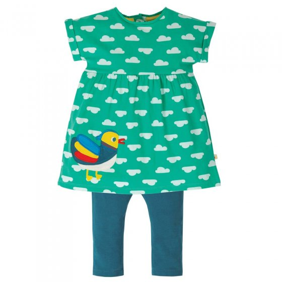 Frugi Aqua Clouds Duck Olive Outfit