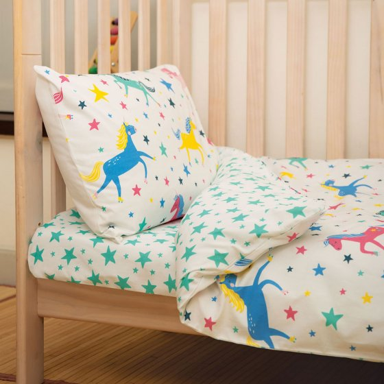 Frugi Aqua Twinkle Cuddle-Up Cot Bed Sheet
