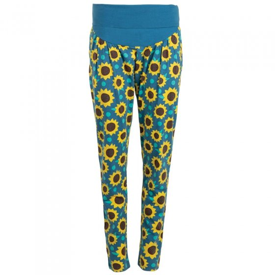 Frugi Bloom Blue Sunflowers Parsnip Hareem Trousers