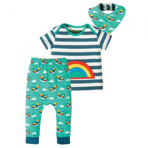 Frugi Blue Stripe Rainbow Frankie Outfit