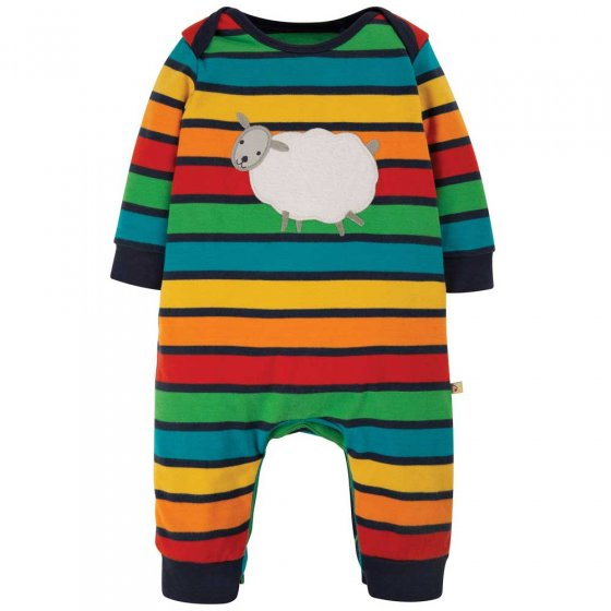 Frugi Bumble Rainbow Stripe Sheep Charlie Romper