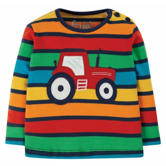 Frugi Bumble Rainbow Stripe Tractor Button Applique Top